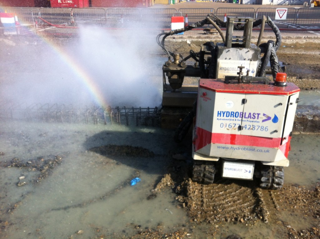 The water does not damage the re bar's - or even the pot of gold ! hydroblast