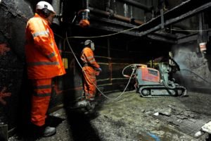 Hydroblast's high pressure robot performs Hydrodemolition, cutting 'keys' into the shaft wall which will fill with the concrete cap. Kellingley Colliery where contractors from Hydroblast, Northallerton, have been the last in the pit shafts preparing the way for UK Coal to cap the shafts with concrete sealing the mine forever. 29 February 2016. Picture Bruce Rollinson