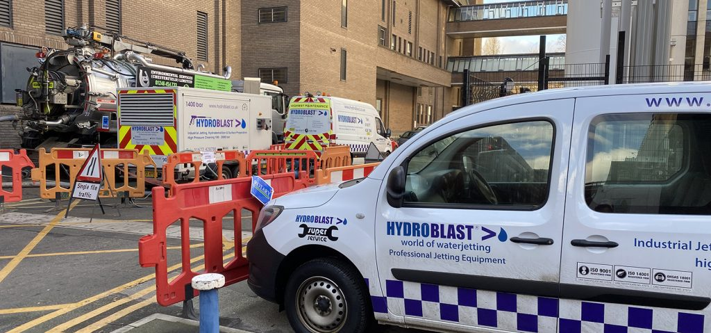 Hydroblast on site at Water jetting job in Yorkshire