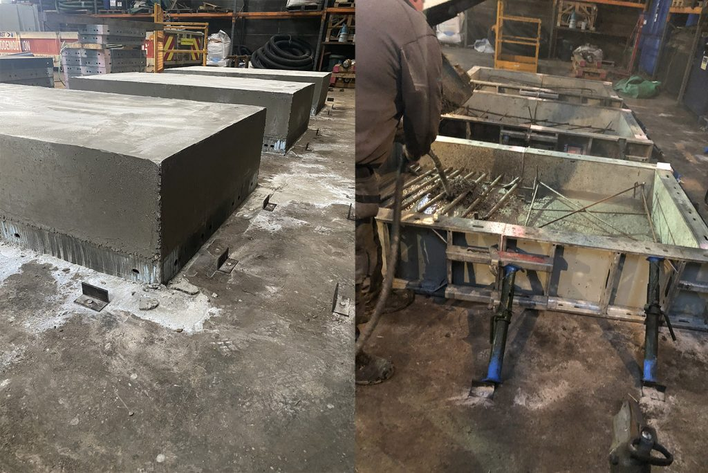 Concrete blocks being created for training